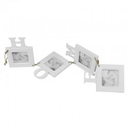 Rama foto perete, mesaj HOME, 4 fotografii 7x7 cm, lemn