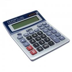 Calculator de birou, alimentare duala, 12 digiti, afisaj mare, albastru