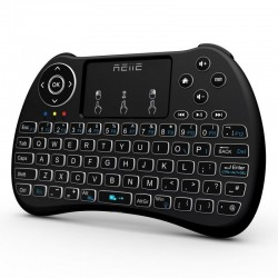 Mini tastatura iluminata, wireless cu touchpad, Reiie H9+