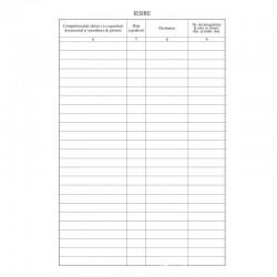 Registru intrare/iesire, format A4, vertical, cartonat