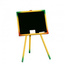 Tabla scolara, 48x82.5 cm, 1 fata neagra, 2 accesorii, suport lemn color