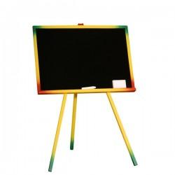 Tablita de scris pentru copii, 65x95 cm, rama color, stativ lemn