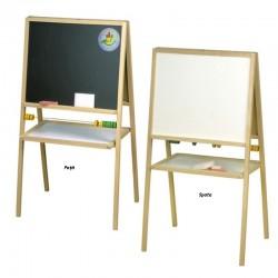 Tablita pentru creta, 2 fete alb negru, 90x47 cm, rama lemn, suport fixare