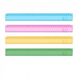 Rigla plastic, transparenta color, 30cm, Ark