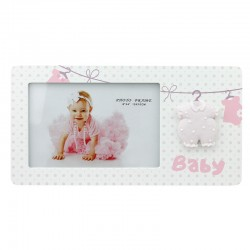 Rama foto Leandrew 10x15, lemn, pentru bebelusi, salopeta in relief