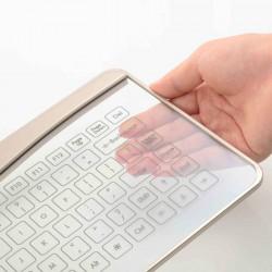 Tastatura Bluetooth sticla tactila, LED, cu touchpad gesture, curatare antiseptica
