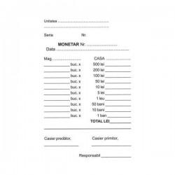 Monetar format A6, 105x148 mm, hartie autocopiativa, 2 exemplare/set