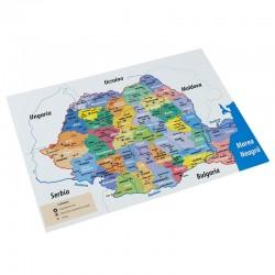 Harta administrativa a Romaniei, RS, format A4, color