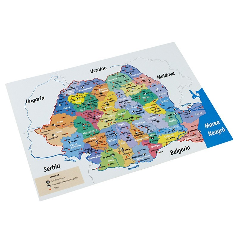 Harta Administrativa A Romaniei Rs Format A4 Color