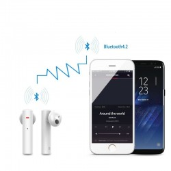 Casti stereo Bluetooth 4.2, 800 mAh, LED, stand incarcare, alb