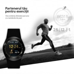 Ceas smart Bluetooth 4.0, touchscreen LCD 1.54 inch, 16 functii, Android/iOS