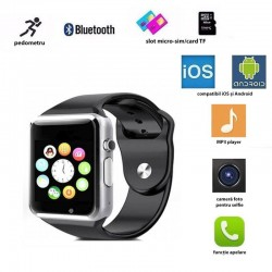Ceas smart bluetooth 4.0, cartela Micro-SIM, ecran 1.54 HD touchscreen, 17 functii, Android 4.3, iOS 7.0, negru