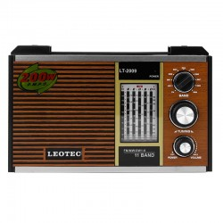 Radio retro, 11 benzi frecventa, Jack 3.5 mm, LED, control volum, Leotec