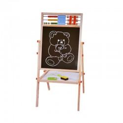 Tabla scolara cu socotitoare, 2 fete scriere, accesorii incluse, suport lemn