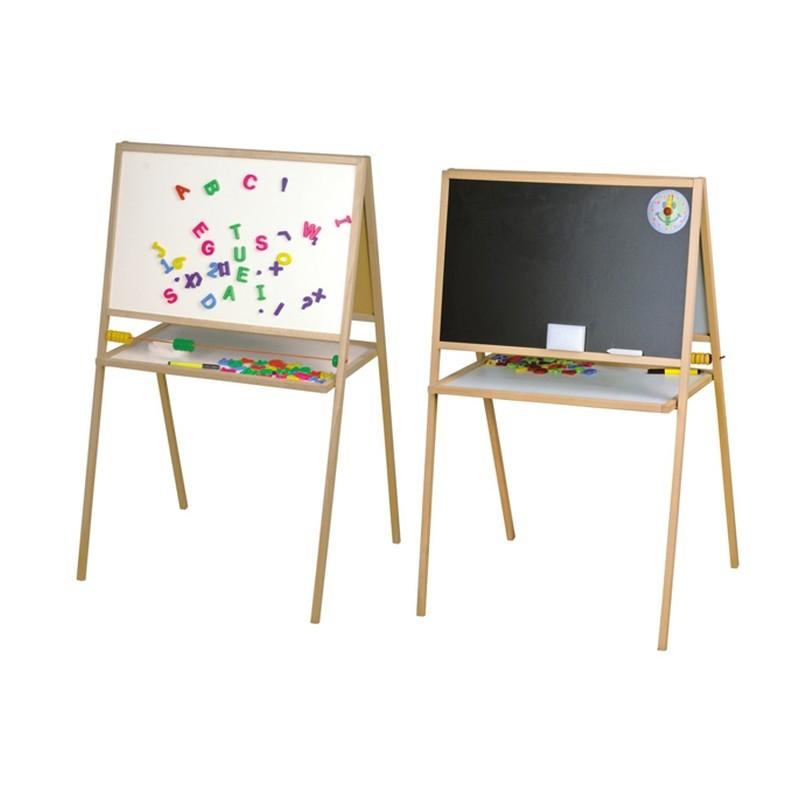 Tablita magnetica pentru scolari, 2 fete scriere, 107x64 cm, stativ lemn