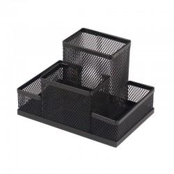 Suport din plasa metalica pentru birou, negru, 4 compartimente