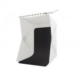 Cub foto pliabil, 20 LED-uri SMD, microUSB 5V, fundal alb negru, PVC