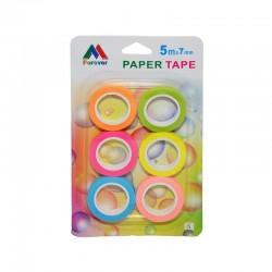 Banda adeziva decorativa din hartie, culori neon, 7 mm x 5 m, set 6 role