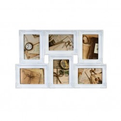 Rama foto multipla plastic, 6 fotografii, 10x15 cm, alb