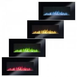 Semineu electric, efect de flacara reala, termostat, reglare telecomanda sau smartphone