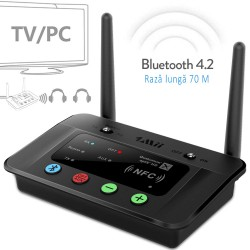 Receptor transmitator Bluetooth 4.2, raza 70 m, Hi-Fi, RCA AUX 3.5mm NFC, pentru TV si PC