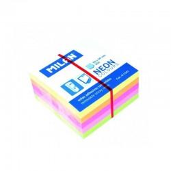 Bloc notes adeziv, 50x50 cm, tip cub, 5 culori neon, 250 file