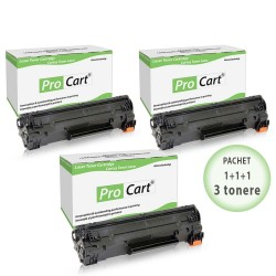 Set 3 tonere compatibile CF283A black HP 83A, 1500 pagini, Procart