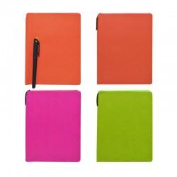 Agenda nedatata A5 cu pix, colturi rotunjite, coperta PVC, culori mixte