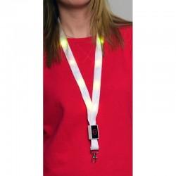 Snur textil pentru ecuson, LED RGB, 3 moduri iluminare, buton on/off, textil