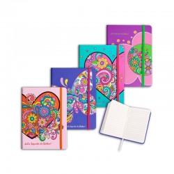 Agenda nedatata cu elastic, 74x105 mm, imprimeu floral, culori mixte, Starpak