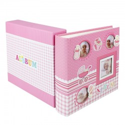 Album foto Baby Four personalizabil 10x15, 50 file din carton, spatiu notite
