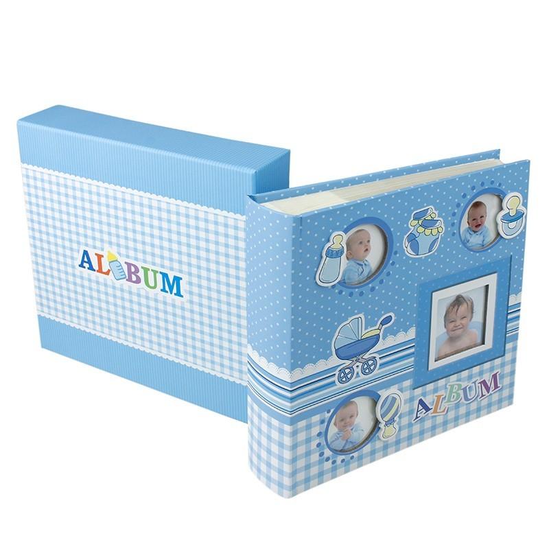 Album foto Baby Four albastru personalizabil, 50 file cartonate, 200 poze 10x15