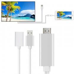 Cablu adaptor HDTV 3 in 1, Android iOS, lungime 1 m, argintiu, Rio