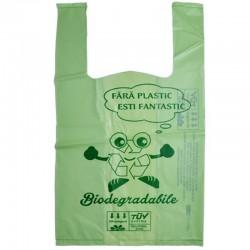 Pungi biodegradabile, cu manere,  22x40x16 cm, 2 kg, set 10 bucati