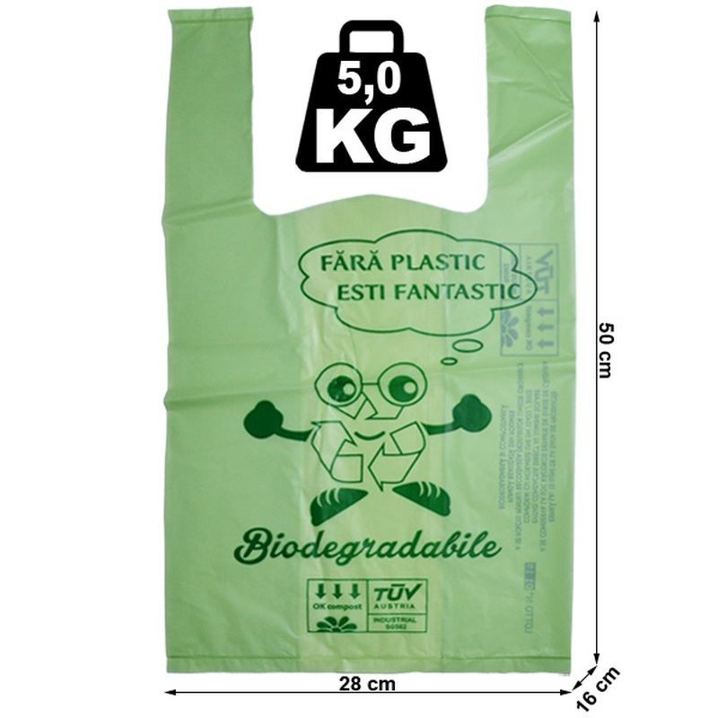 Pungi biodegradabile verzi, tip maieu,  28X50X16 cm, 5 kg, set 10 bucati