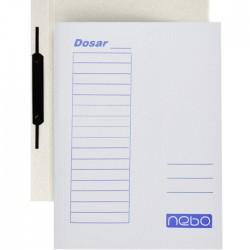 Dosar cu sina metalica, format A4, set 50 bucati, carton alb