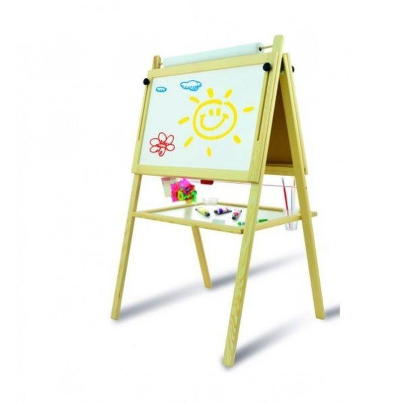 Tablita pentru copii, 2 fete scriere, 60x46 cm, suport lemn, accesorii incluse