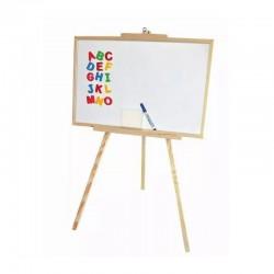 Tabla magnetica, rama din lemn, 60x98 cm, accesorii incluse, stativ