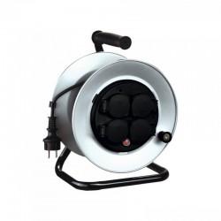 Prelungitor rola tambur, 4 prize, 250V, protectie supraincalzire, cadru metalic