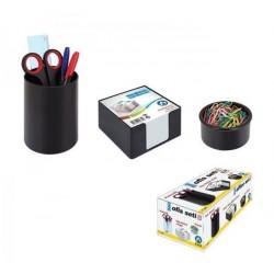 Set birou 3 piese, negru, suport cub hartie, Ark