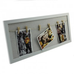 Rama foto multipla Kids, 3 fotografii, 23x54 cm, carlige prindere, lemn alb