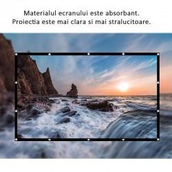 Ecran de proiectie manual, 120 inch, portabil, fixare perete, textil alb