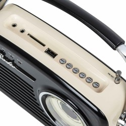 Radio portabil FM/AM, Bluetooth, USB/SD, difuzor 2.75 inch, alimentare duala, vintage