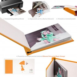 Album Fotocarte 10x15, personalizabil, hartie foto inclusa, Magic Orange