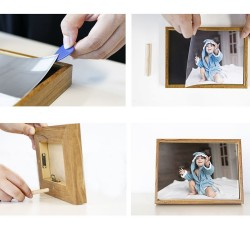 Rama foto magnetica de birou sau perete, format A4, hartie foto, lemn, vintage