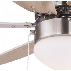 Ventilator cu lustra, reversibil, fixare tavan, 50W, E14, 78 cm, Rivaldo Globo