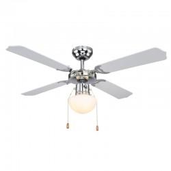 Ventilator de tavan cu lustra, reversibil, 50W, E27, 4 palete, 3 viteze