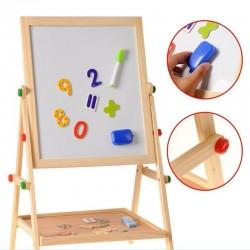 Tablita magnetica cu 2 fete, marker, burete, creta, cifre magnetice, suport lemn