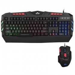 Kit tastatura si mouse gaming, iluminate LED, USB, taste multimedia, 2400 DPI