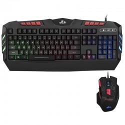 Kit tastatura si mouse gaming, iluminate LED, USB, taste multimedia, 2400 DPI